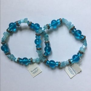 New (2) Lia Sophia blue beaded stretch bracelets